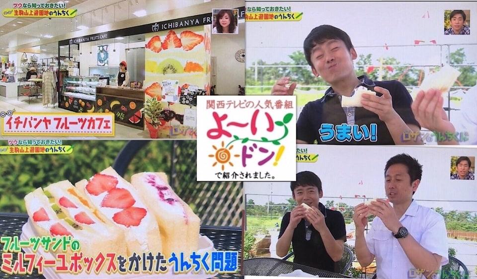 奈良のくだもの屋さん直営フルーツサンドとフルーツ大福のお店ICHIBANYA FRUITS CAFE(いちばんや)大和郡山店 | 【関西テレビ/よ〜いドン!】でご紹介いただきました