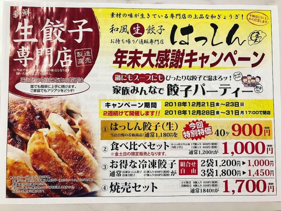 堺の和風生餃子 お持ち帰り/お取り寄せ通販専門店/はっしん | 🎄年末大感謝キャンペーン🎍