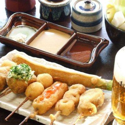 3名様以上で『特選十種串カツ』をご注文の方、焼酎ボトル(芋又は麦)サービス