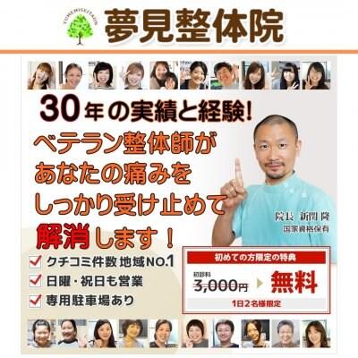 川崎の整体なら夢見整体院 30年の実績と経験。腰痛、ぎっくり腰、パニック障害、頭痛、めまいなど、あなたの悩みをしっかり受け止め解消します。