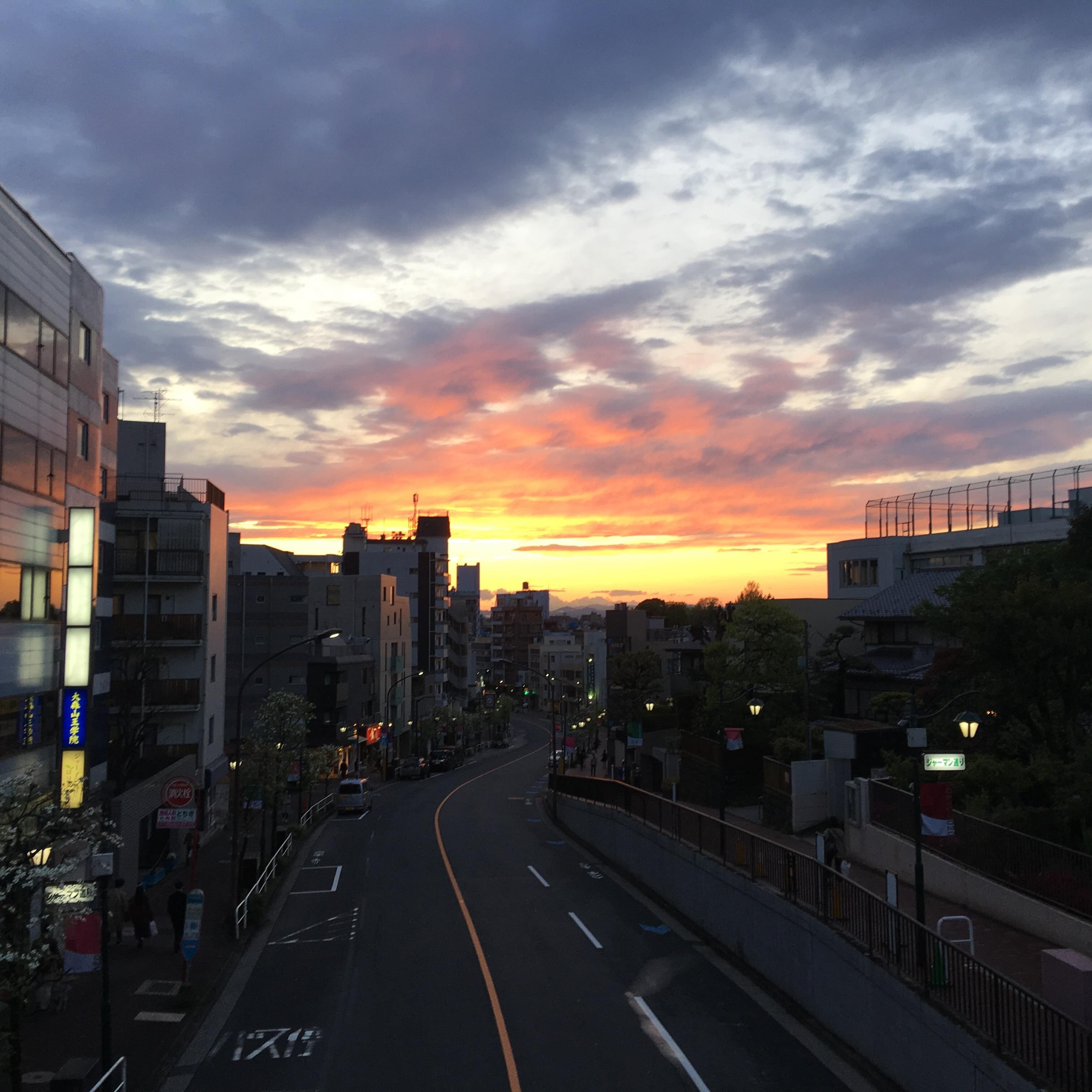 山王歩道橋からの夕日