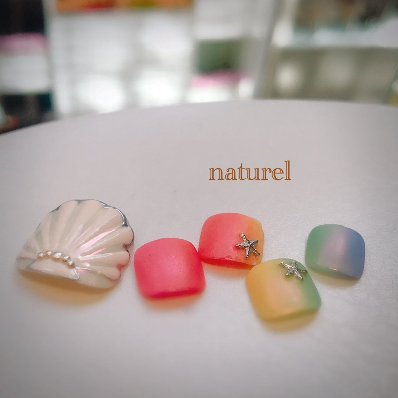 貝殻&レインボーネイル