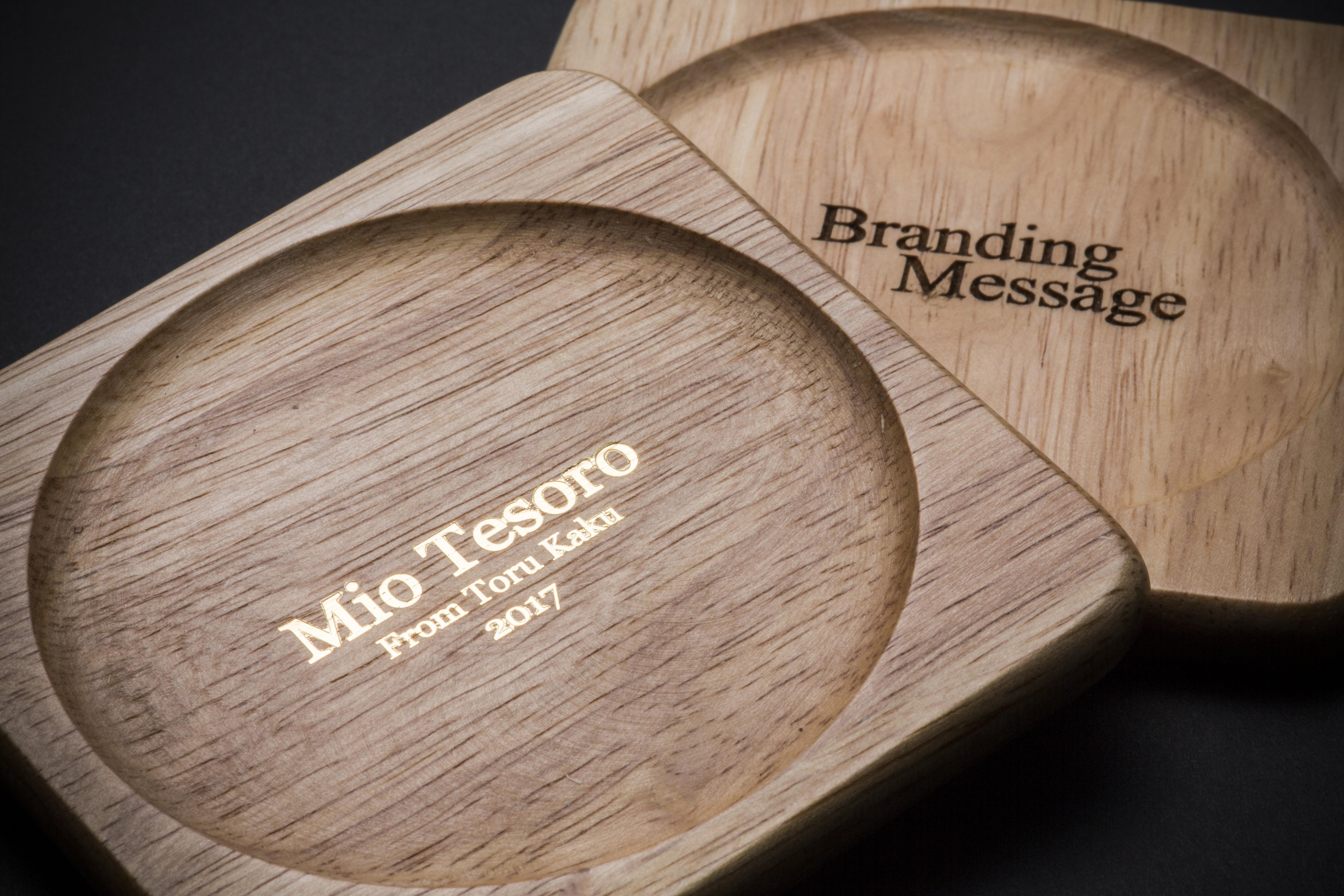 箔押し木製コースター