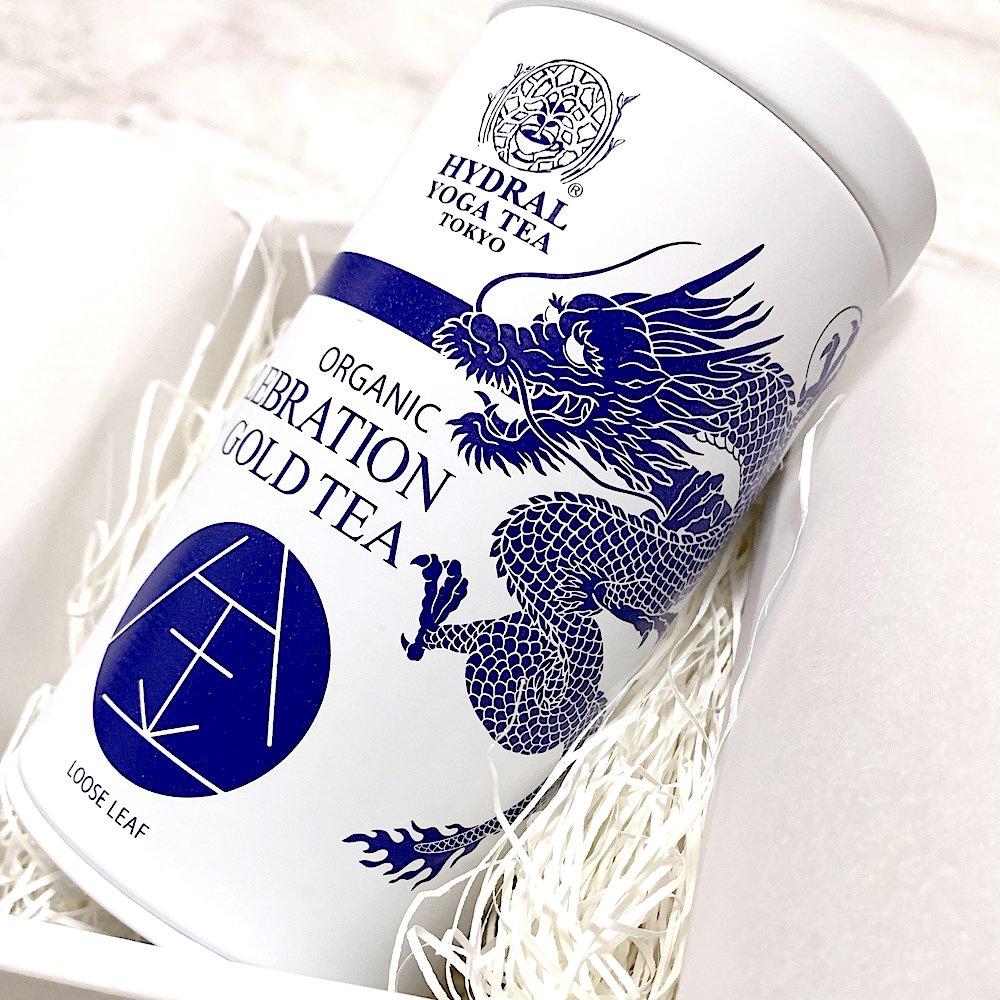 龍神缶に入った和紅茶ベースの金箔茶[限定品]|上質なオーガニックギフトにおすすめ