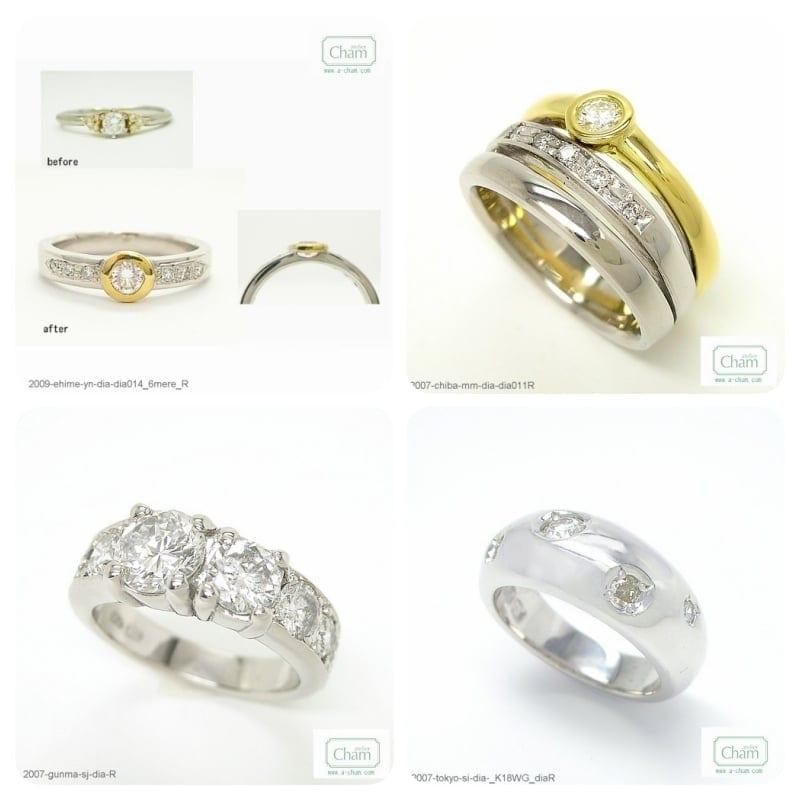 ダイヤモンド Pt900とK18イエローゴールドのコンビネーションや、ダイヤモンド大小のバリエーション