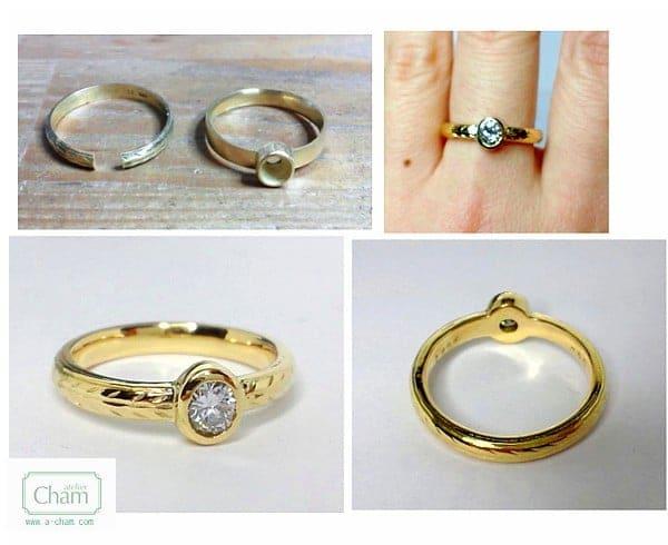 お母さまのご結婚指輪を加工しました