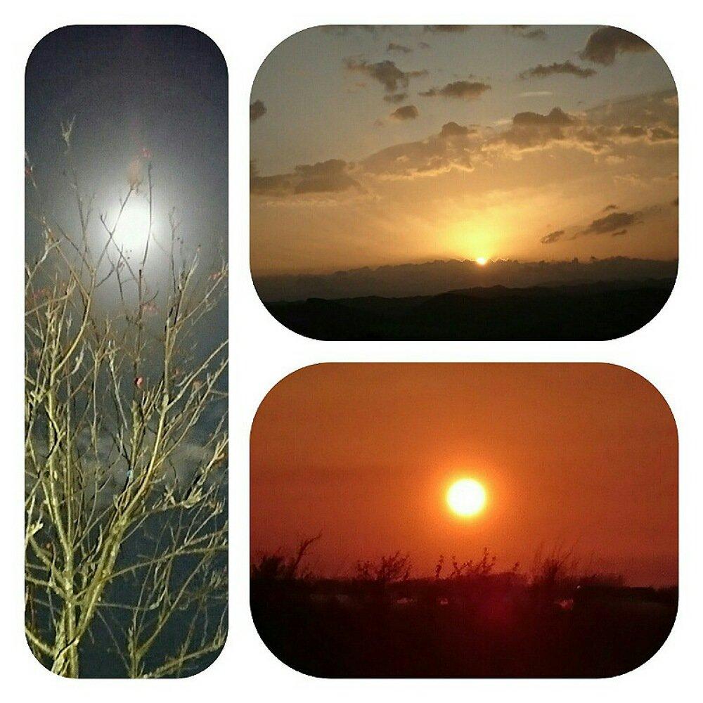 朝陽と満月