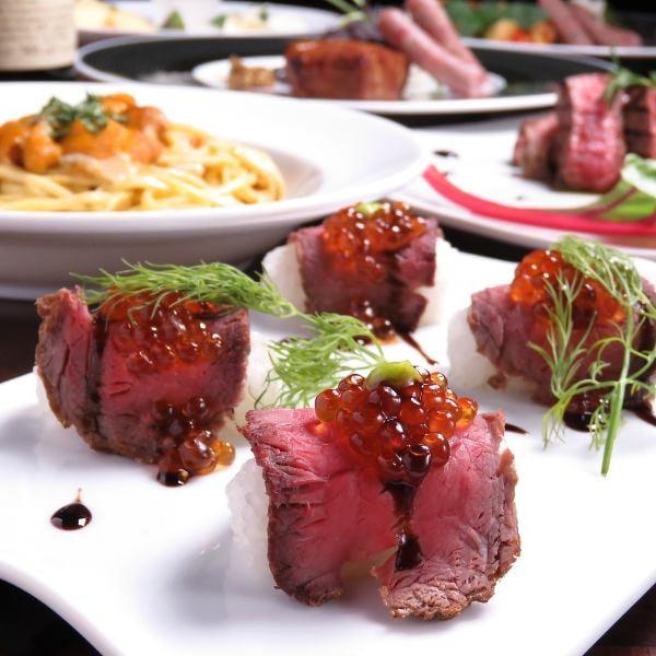 大人気は特製肉寿司