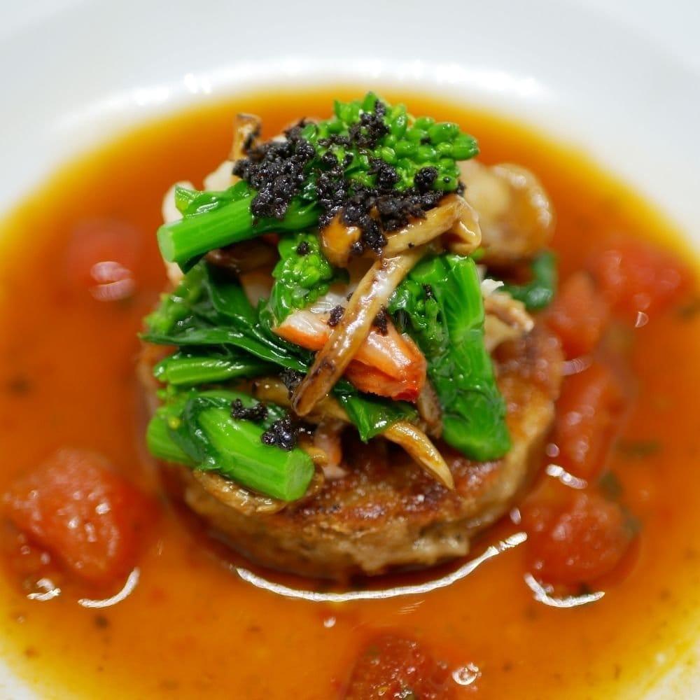 リベロ ポルペッティのスープ仕立て 菜の花添え