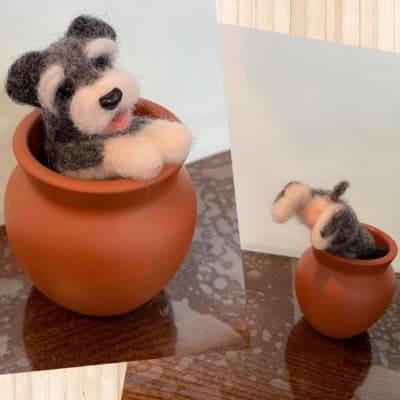 羊毛チクチク No.012 壺からシュナ