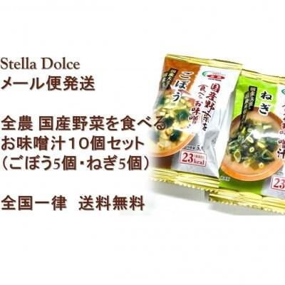 【送料無料】メール便発送/国産野菜を食べましょ!「国産野菜を食べるお味噌汁10個セット(ごぼう5個・ねぎ5個)」
