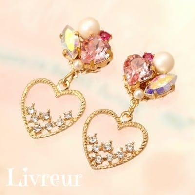 【ハートシリーズ】Livreur(リヴルール)Love ライトローズ◇◆ピアス(イヤリング)