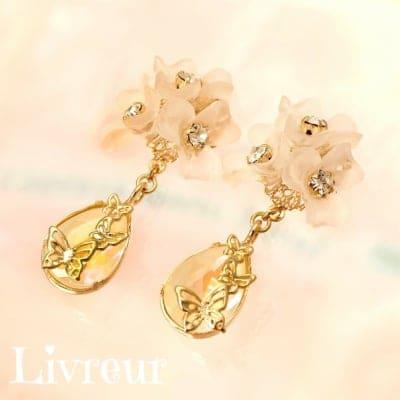 【季節限定】Livreur(リヴルール)春の訪れ*お花ブーケと蝶の揺れる◇◆ピアス(イヤリング)