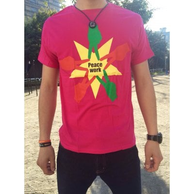 Peace Work Tシャツ☆濃ピンク☆【店頭受取★送料無料★】