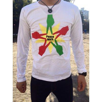 Peace Work Tシャツ☆白☆【長袖】【店頭受取★送料無料★】