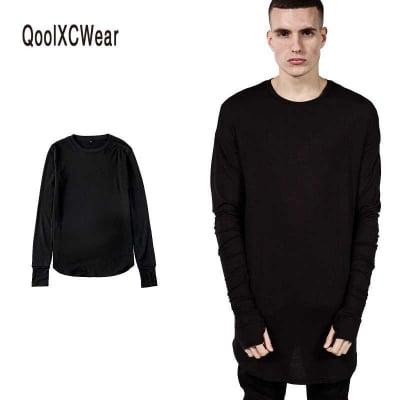 送料無料 メンズ 長袖 Tシャツ ロンT 無地 シンプル ロング丈 重ね着向け 黒 ブラック