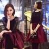 送料無料 ナチュシー NatuSe ワンピース エレガント レース フレア 上品 ドレス 大人気 パーティードレス ブラック×レッド S L XL