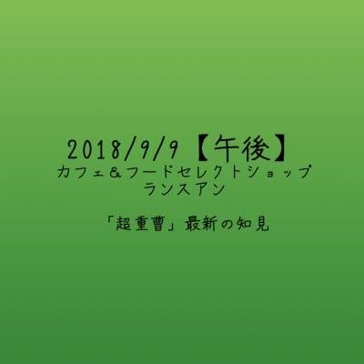 【2018/9/9午後】「超重曹」最新の知見