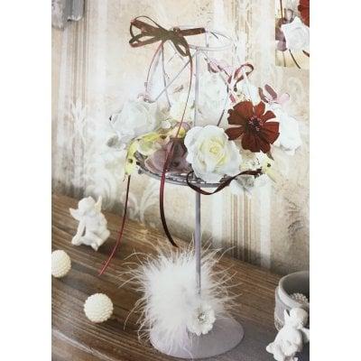 花言葉『幸福』のジニアとローズを飾ったランプシェード