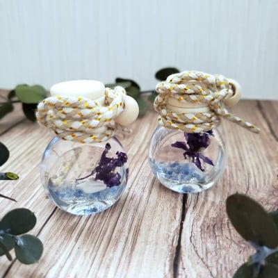 【送料無料】青紫の小花×貝殻ミニ☆フレグランスハーバリウム