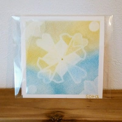 送料無料|ヒーリングアート「エネルギーカード」パステル  イエロー&水色 〜 原画1点もの・メッセージカード付き