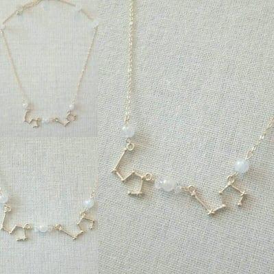 しし座|星座ネックレス|天然石付 ローズクォーツ 水晶|HOUKI.m