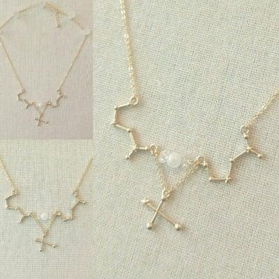 さそり座|星座ネックレス|天然石付 ローズクォーツ 水晶 南十字星|HOUKI.m