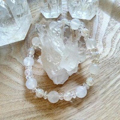 【受注生産】天然石ブレスレット|水晶スノークォーツ|HOUKI.m