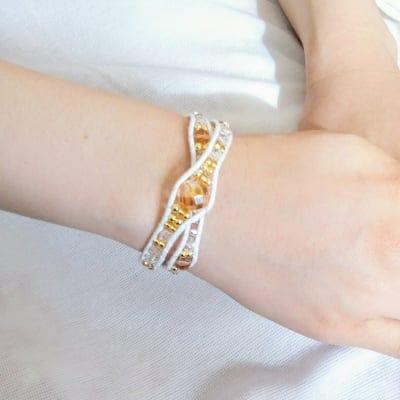 【受注生産】ホワイト|水晶 ゴールド水晶|天然石 手編みブレスレット|天然石&ビーズ|HOUKI.m