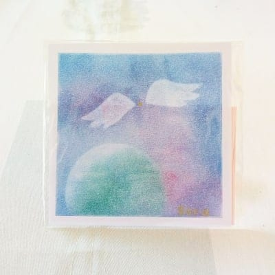 ヒーリングアート「天使ちゃん」パステル画  〜 原画1点もの・メッセージカード付き