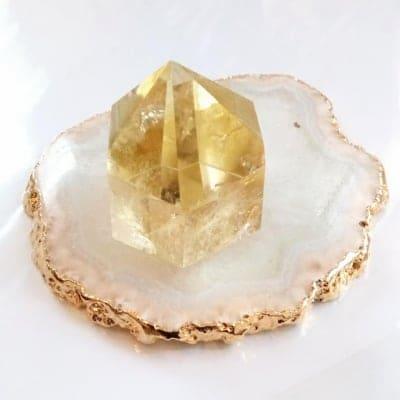 天然石 シトリン ポイント(六角形)|送料無料 (レターパックプラスで発送)