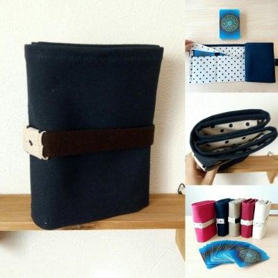 水玉タイプ  紺色   ボイジャータロット6ポケットケース  【 全5カラー    アイボリー・レッド・紺色・...