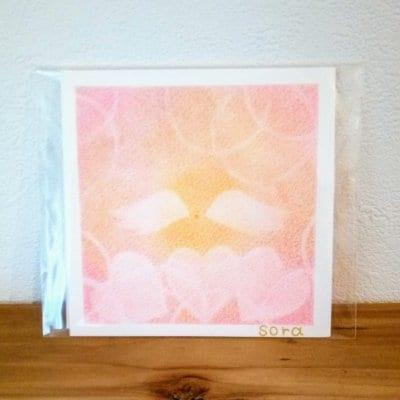 送料無料|ヒーリングアート「天使ちゃん」パステル画  ピンク 〜 原画1点もの・メッセージカード付き