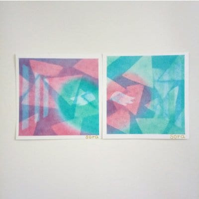 ヒーリングアート「天使ちゃん」パステル画 ラブ 2枚セット 〜 原画・メッセージカード付き