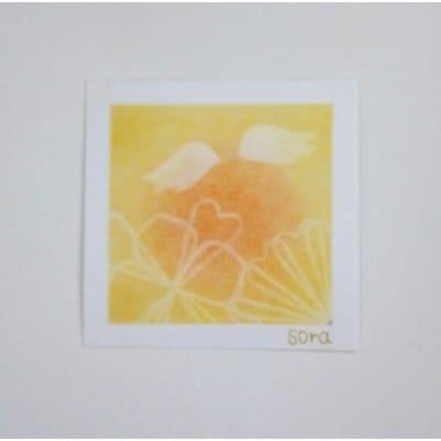 ヒーリングアート「天使ちゃん」パステル画 オレンジ 〜 原画・メッセージカード付き