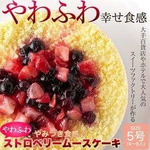 二層のスポンジとストロベリームースがやみつき食感♪ふわふわストロベリームースケーキ5号