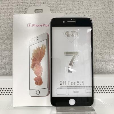 送料無料■iPhone 7plus、8plus 全面保護4D強化ガラスフィルム 黒【高度9H】29-7P(BK)