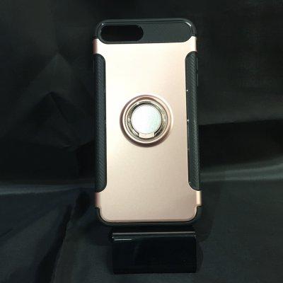 ■送料無料■iPhone7Plus★対応★カーボン風背面リング付きハイブリッドケース♪ 7p-14 ピンク