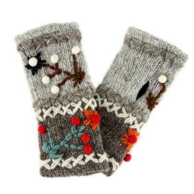 送料無料|ハンドウォーマー|裏フリース|ネパール製|手袋|ハンドメイド|グレー×ライトグレー