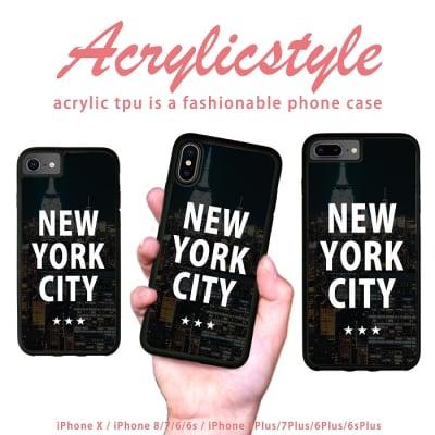 iPhone 7 8 X ケース ニューヨーク NEW YORK(摩天楼デザイン)