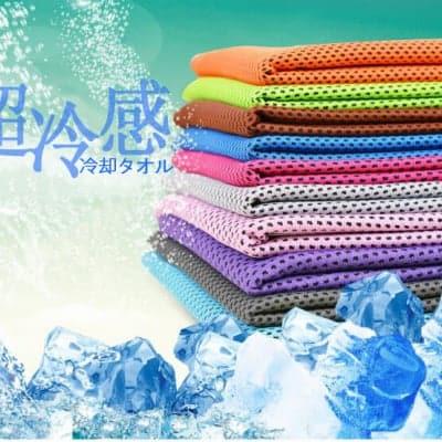 【熱中症対策】超冷感!速乾クールタオル(30cm×80cm|10枚セット)