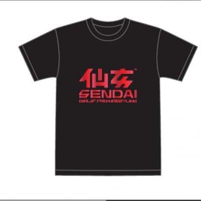 仙女定番ロゴTシャツ ブラック×パールレッド