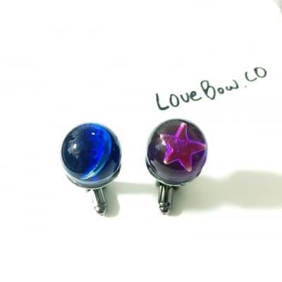 【1周年セール対象商品】葵色と紺碧 星と月のカフス