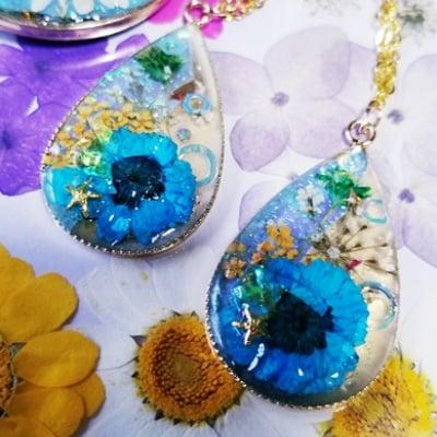 押し花で手作り、イヤリング。ピアス、ネックレスを作ろう!東京葛飾区初心者でも可愛く作れる!プレゼントにもおすすめ