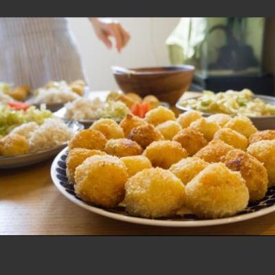 『ほうろく菜種油でメンチカツ&玄米クリームコロッケ』おひさまごはん料理教室♪