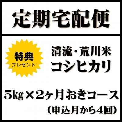 【定期便 2ヶ月おき 5kg×4回】清流・荒川米 特典付き!平成29年度産新米