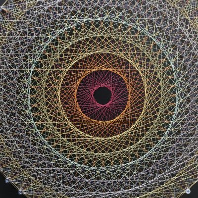 【受注製作】糸かけ曼荼羅アート/チャクラ/草木染糸/送料無料 30cm×30cm 48ピン 黒板