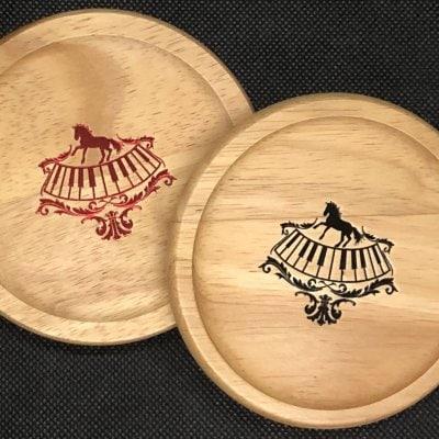 ♪Music Gift♪ 箔押し木製コースター (2枚1組 /ピアノと馬)