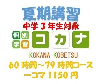【現地払い専用】夏期講習(中学3年生対象)60時間〜79時間コース1コマ60分