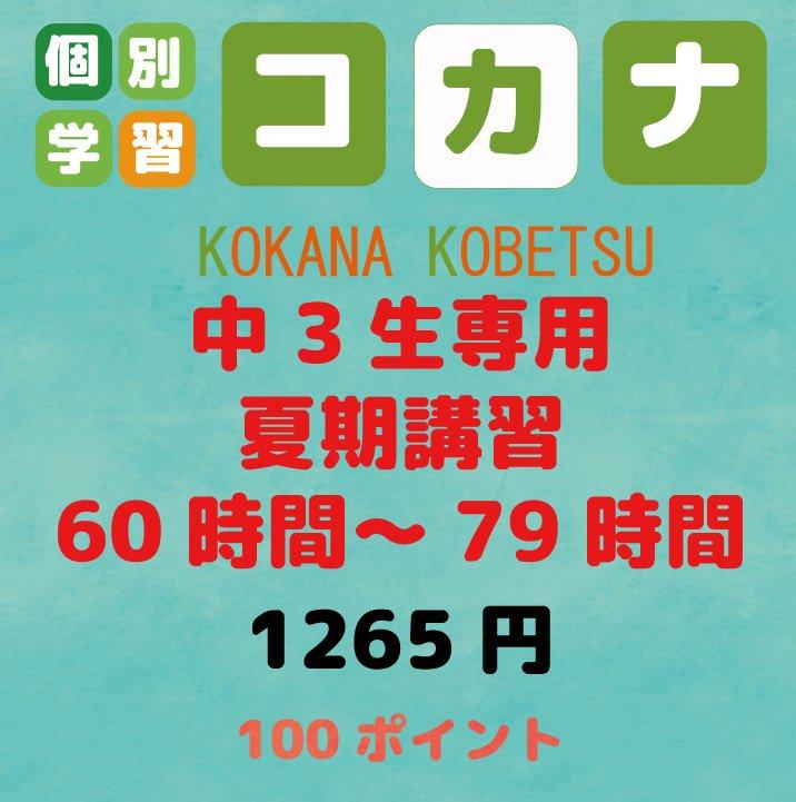 【現地払い専用】中3生専用 夏期講習60時間〜79時間 1コマ60分のイメージその1
